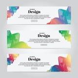 Calibre coloré abstrait de Web de bannière de dessin géométrique de vecteur, bannière de fond Photos stock