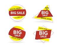 Calibre coloré de bannière de vente d'achats, collection de bannière de vente au rabais illustration stock