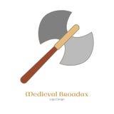 Calibre coloré médiéval d'emblème de logo, style plat Photographie stock libre de droits