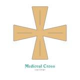 Calibre coloré médiéval d'emblème de logo, style plat Photos stock