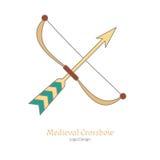 Calibre coloré médiéval d'emblème de logo, style plat Photo libre de droits