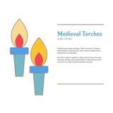 Calibre coloré médiéval d'emblème de logo, style plat Images stock