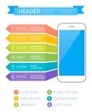 Calibre coloré moderne d'Infographic avec le smartphone et le texte Peut être employé comme calibre créatif d'affaires Photo libre de droits