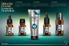 Calibre cosmétique, collection de bouteilles en verre brunes avec les pipettes, bouteilles avec de l'huile pour le visage, boutei illustration stock
