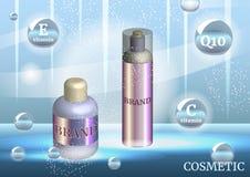 Calibre cosmétique d'annonces de Digital, maquette vide avec le fond de scintillement de bleu de bokeh Photos stock