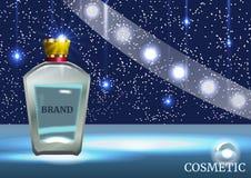 Calibre cosmétique d'annonces de Digital, maquette vide avec le fond de scintillement de bleu de bokeh Photographie stock