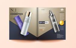 Calibre cosmétique de magazine, annonces élégantes d'essence, argent cosmétique et bouteille blanche de jet, illustration 3d illustration libre de droits