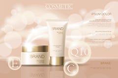 Calibre cosmétique sensible réaliste de bannière d'annonces 3d a détaillé l'élément promotionnel commercial de conception d'or be Images stock