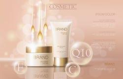 Calibre cosmétique sensible réaliste de bannière d'annonces 3d a détaillé l'élément promotionnel commercial de conception d'or be Photographie stock libre de droits