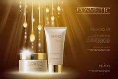 Calibre cosmétique sensible réaliste de bannière d'annonces 3d a détaillé l'élément promotionnel commercial de conception d'or be Image stock
