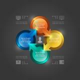Calibre créatif d'Infographics de vecteur. 3D entoure le diagramme. Conception d'illustration du vecteur EPS10 Images stock