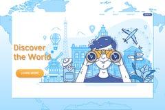 Calibre créatif de site Web Discover le monde Dans le monde entier voyageant, heure de voyager illustration de vecteur