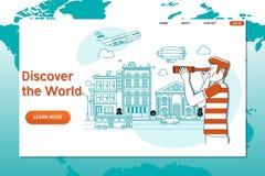 Calibre créatif de site Web Discover le monde Dans le monde entier voyageant, heure de voyager illustration libre de droits