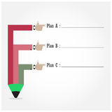 Calibre créatif avec l'organigramme de bannière de ruban de crayon Images libres de droits