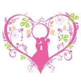 Calibre décoratif de silhouette de mariage Image stock
