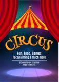 Calibre d'affiche d'exposition de cirque avec le cadre de signe et de lumière Invitation de fête de cirque Illustration d'exposit illustration libre de droits