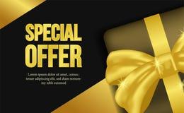Calibre d'affiche de bannière d'offre spéciale avec le regard de luxe avec le boîte-cadeau et le ruban d'or illustration de vecteur