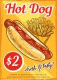 Calibre d'affiche de restaurant d'aliments de préparation rapide de hot-dog rétro Images libres de droits