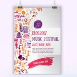 Calibre d'affiche de vecteur de concert de musique Peut être employé pour la promotion imprimable avec des articles de lettrage e Image stock