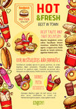Calibre d'affiche de vecteur de restaurant d'aliments de préparation rapide Image stock