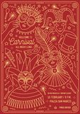 Calibre d'affiche, d'insecte ou d'invitation pour la boule de mascarade, le carnaval, le festival ou la partie avec le port de ca illustration de vecteur