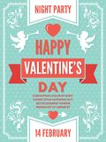 Calibre d'affiche pour le jour de valentines Illustrations de fond des symboles d'amour illustration de vecteur