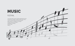 Calibre d'annonce de festival de musique de vecteur Texte de festival de musique avec la vague de note illustration stock