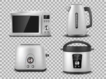 Calibre d'appareils de cuisine Micro-onde argentée réaliste, bouilloire, four, presse-fruits, grille-pain, maquette argentée de m illustration libre de droits