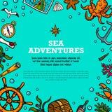 Calibre d'aventures de mer Objets tirés par la main marins de vecteur Illustration de vecteur de style de griffonnage illustration libre de droits
