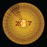 Calibre d'or de conception d'anneaux de 2017 calendar-1 Photographie stock