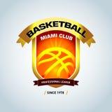 Calibre d'or de logo de basket-ball, logotype de basket-ball, calibre de conception de logo d'insigne, calibre de logotype de spo Photographie stock