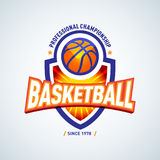 Calibre d'or de logo de basket-ball, logotype de basket-ball, calibre de conception de logo d'insigne, calibre de logotype de spo Images libres de droits