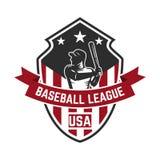Calibre d'emblème avec le joueur de baseball Concevez l'élément pour le logo, label, emblème, signe Photos stock