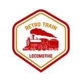 Calibre d'emblème avec le rétro train Route de longeron locomotive Concevez l'élément pour le logo, label, emblème, signe Photo libre de droits