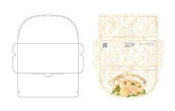 Calibre d'enveloppe avec la conception d'aileron Facile à se plier Préparez pour imprimer l'enveloppe colorée pour l'argent Peut  illustration de vecteur
