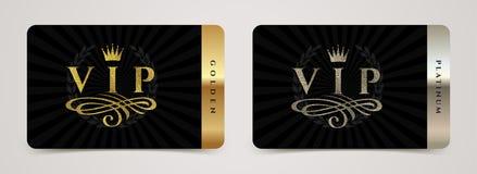 Calibre d'or et du platine VIP de carte - le type conception avec la couronne, s'épanouit l'élément et la guirlande de laurier su illustration stock