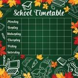 Calibre d'horaire d'école de programme de leçon illustration stock