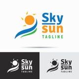 Calibre d'icône de logo de ciel et de soleil dans le style minimaliste propre Busine Photos libres de droits