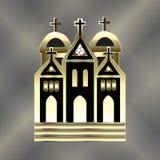 Calibre d'image de vecteur d'or de logo d'église illustration stock