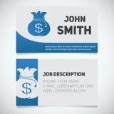 Calibre d'impression de carte de visite professionnelle de visite avec le logo de sac d'argent illustration stock