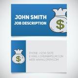 Calibre d'impression de carte de visite professionnelle de visite avec le logo de sac de monnaie de banque illustration libre de droits