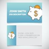 Calibre d'impression de carte de visite professionnelle de visite avec le logo de tirelire illustration libre de droits