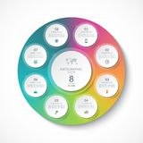 Calibre d'Infographic avec 8 cercles, options, étapes, pièces Images libres de droits