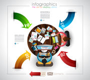 Calibre d'Infographic avec les icônes plates d'UI pour le rang de ttem Photographie stock