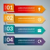 Calibre d'Infographic avec 4 pièces d'étapes, options Dirigez la bannière avec des icônes d'affaires et des éléments de conceptio illustration de vecteur