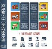 Calibre d'Infographic ou bannière étape-par-étape de site avec les icônes intégrées Photos stock