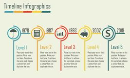 Calibre d'infographics de chronologie Éléments d'isolement de conception Illustration colorée de vecteur Images libres de droits