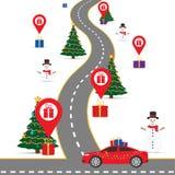 Calibre d'infographics de Noël avec une route et des indicateurs de navigation et une carte avec des boîte-cadeau Image stock