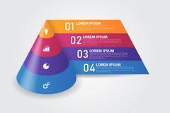 calibre d'Infographics de pyramide du cône 3D pour des affaires, éducation, web design, bannières, brochures, insectes Images libres de droits