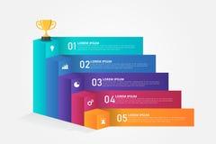 calibre d'Infographics des escaliers 3D pour des affaires, éducation, web design, bannières, brochures, insectes Photos stock